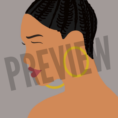 Flat Icon - Girl with Braided Bun and Hoop Earings