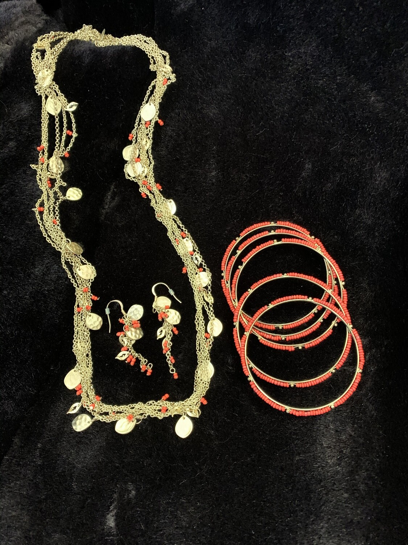 Gold/pink Necklace, bracelet, earrings set