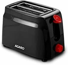 AGARO - 33264 750-Watt 2-Slice Pop-Up Toaster with 6 Toasting Settings & Removable Crumb Tray (Black)