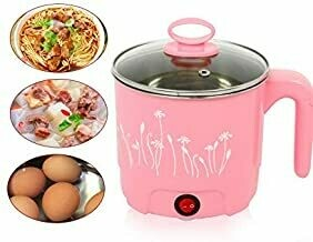 1.8L Multi-Function Mini Stainless Steel Skillet Noodles Rice Cooker Thermal Insulation Cooking Pot Pan Food Container Electric Heating Lunch Box Perfect for Steam, Egg, Soup and Stew