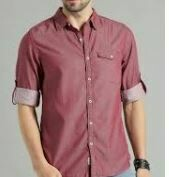 Plain Casual Shirt, Red, Full Sleeves