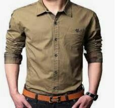 Casual Shirt, Solid Brown, Full Sleeves