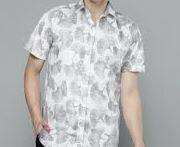 White Printed Casual Shirt, Half Sleeves