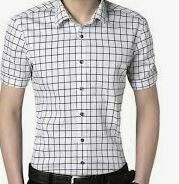 Cotton Checkered Casual, White, Half Sleeves