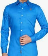 Cotton Shirt, Solid Blue Full Sleeves