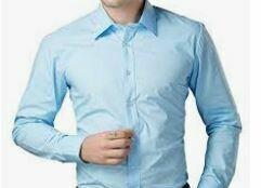 Formal Shirt, Solid, Blue Full Sleeves