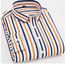 White Yellow Blue Striped Formal Shirt