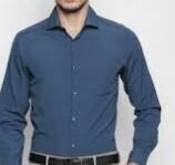 Blue, Solid Cotton Formal Shirt