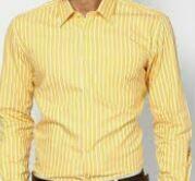 Yellow White Striped Formal Shirt