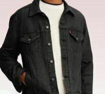 Denim Jacket, Button Closure, Black