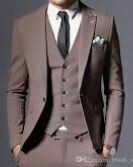 Brown Colored Three Piece Suit, Double Breasted