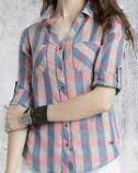 Cotton Checkered Formal Shirt, Blue-Pink