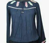 Blue Formal Top, Full Sleeves