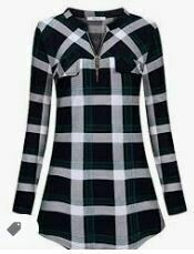 Checkered Full Sleeves Cotton Formal Top, Black-White