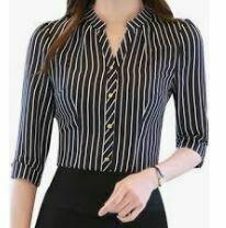 Striped Formal Shirt, Black-White