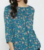 Casual Floral Top, Blue shade