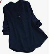 Dark Blue Cotton Casual Top