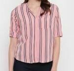 Half Sleeves Striped Casual Shirt, Pink-Blue