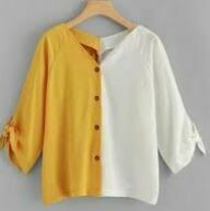 Yellow-White Casual Top