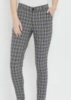 Grey Checkered Slim Fit Trouser