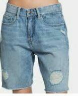 Torn Denim Shorts, Blue