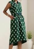 Green Floral Knee Length Casual Dress