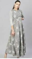Printed Casual Dress, Grey-White