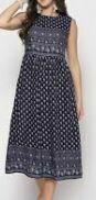 Knee Length Printed Cotton Dress, Blue