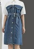 Denim Knee Length Maxi, Blue with White Shirt