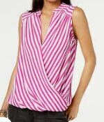 Striped Pink-White Casual TOP