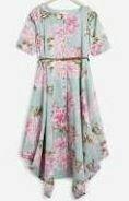 Cotton Floral Dress, Half Sleeves
