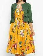 Floral Print A-Line Dress, Yellow