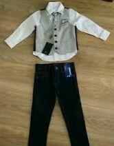 Cotton Casual Dress Set, Dark Blue Trouser, White-Grey Shirt