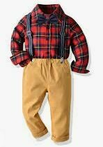 Casual Red Checkered Shirt with waistband Trousers