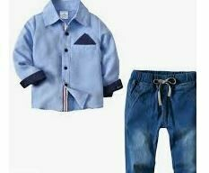 Blue Shirt with Denim Trousers