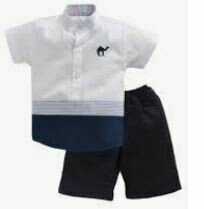 White-Blue Shirt with Dark Blue Short