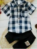 Broad Checkered Shirt With Cotton Short