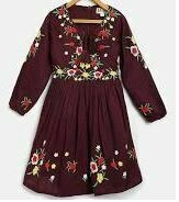 Embroidered Full Sleeves Frock, Maroon