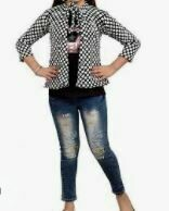 Black Top & Checkered Grey Jacket with Denim Trousers
