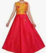 Yellow Red Full Length Gown