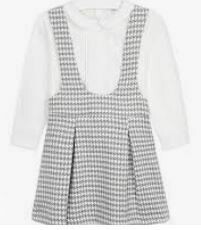 White-Grey Dotted Dungree Dress