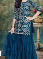 Blue Designer Top with Full length Skirt