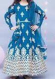 Anarkali, Embroidered, Blue