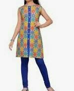 Printed Yellow Top Sleeve Less with Blue Denim Trousers