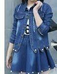 Denim Jacket with Denim Mini Skirt, Blue