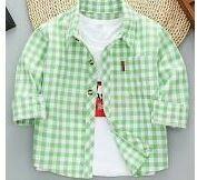 Green-White Checkered Full Sleeves Shirt, With White Inner T-Shirt Unisex