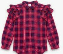 Casual Checkered Ruffled T-Shirt, Girls