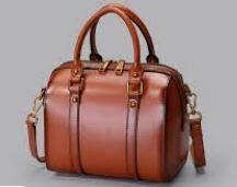 Genuine Leather Hand Bag with Shoulder Strap, Brown