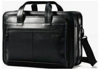 Black Laptop Bag with Multiple Compartments, Adjustable Shoulder Straps