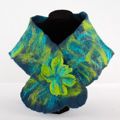 LUX Felted Merino Collar with popper - BLUE